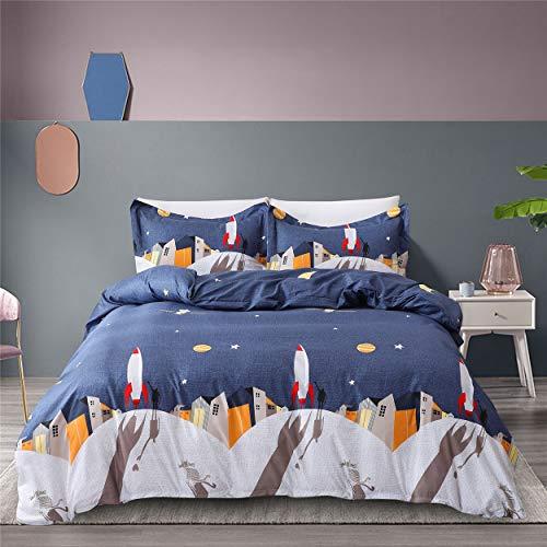 yunshenyinuo Three Piece Bedding Luxurious Double-Sided Dark Blue Night Sky Zipper Closed Duvet Cover Three Piece Set(1 Duvet Cover + 2 Pillow Shams) (Queen,Dark Blue)