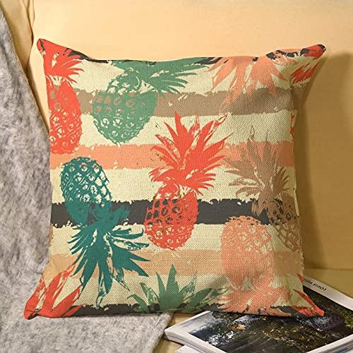 best & Patrón dibujado a mano con funda de almohada de lino de piña 1 paquete, tamaño estándar (45 x 45 cm), funda de almohada con bordado y lino natural