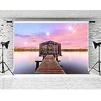 F-FUN SOUL レイクサイド背景 木製ブリッジ ピンクスカイ写真背景 ウェディングパーティー フォトスタジオ小道具 コットン布 しわなし 7x5フィート LHFS598