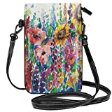 Jiger Women Small Cell Phone Purse Crossbody,Floral Watercolor Style Wildflowers Country Kitchenware Flowers Art Print