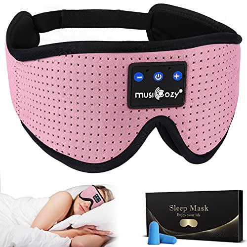 MUSICOZY Sleep Headphones Bluetooth Headband Breathable 3D Sleeping Headphones, Wireless Music Eye Mask Sleep Earbuds for Side Sleepers Women Office Air Travel Cool Tech Gadgets Unique Gifts Pink