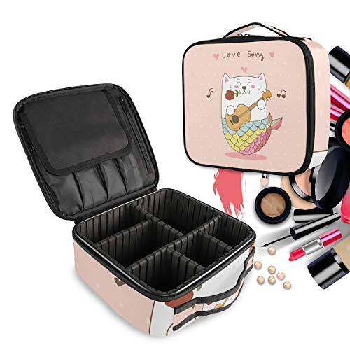 Meerjungfrau Katze Gitarre Liebeslied Make up Taschen Reißverschluss Kulturbeutel Waschtasche Kosmetiktasche Organizer mit verstellbaren Trennern für Mädchen Frauen Damen