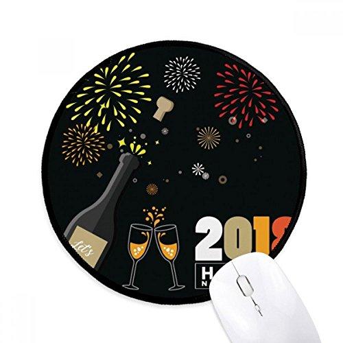 2018 Alcohol Wijnglas Vuurwerk Nieuwjaar Ronde Niet-lip Mousepads Zwart gestikte randen Game Kantoor Gift