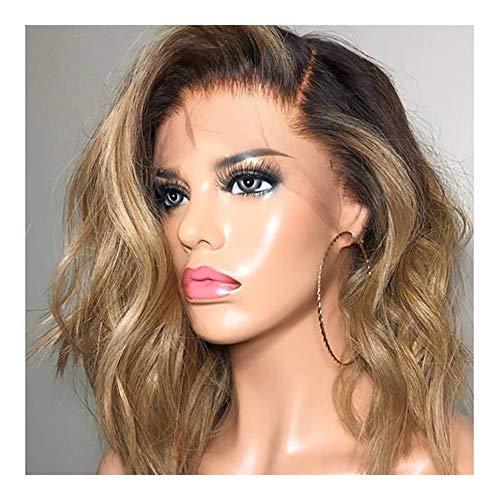 De Europa y América las mujeres Gradiente de color en la parte delantera de pelo largo rizado encaje Micro tejida mano Sombrero para mujeres pelucas sintéticas de calidad con