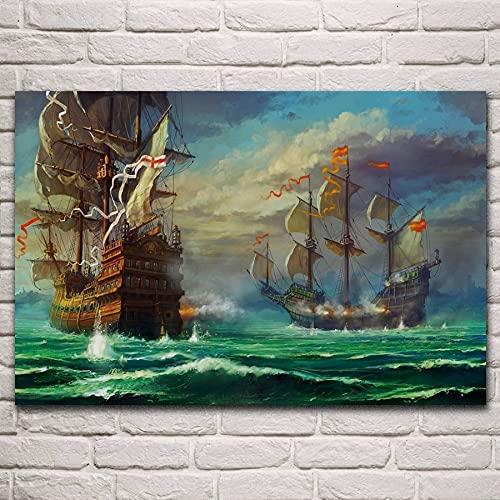 Imprimir en Lienzo - Cuadros en Lienzo Imágenes Barco de bomberos Velero Vehículo Batalla naval Guerra Militar 50x75cm (Sin marco) Pintura Mural Pared Que Cuelga para La Decoración De La Pared