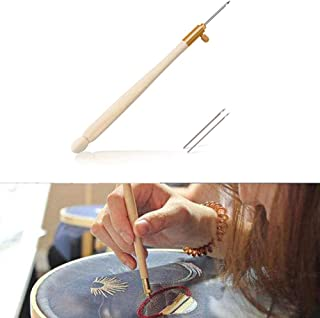 Aeakey Wooden Handle Tambour Crochet Hook with 3 Needles French Crochet Embroidery Beading Hoop Sewing Tool Set DIY Craft