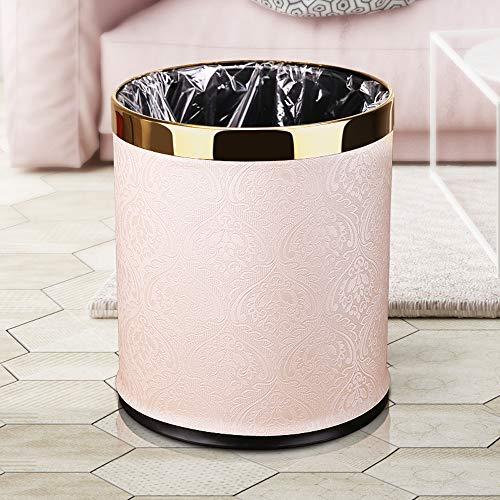 Trash Can Poubelle à double couche en cuir et métal - 10 l - Pour hôtel et bureau (oiseaux et fleurs)