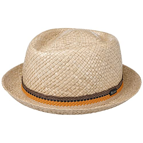LIPODO Cappello di Paglia con Corona a rombo Donna/Uomo - Made in Italy - Berretto in 100% Paglia - Pork Pie per la Primavera/Estate - Cappello da Sole Natura L (58-59 cm)