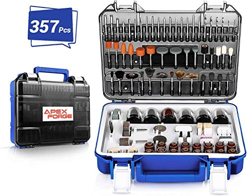 APEXFORGE 357pcs Accessori per Utensili Elettrici Rotante Multifunzione Set di Accessori Multiuso 3.2mm Diametro Shanks Universali Taglio Levigatura Affilatura Lucidatura Perforazione PRTA