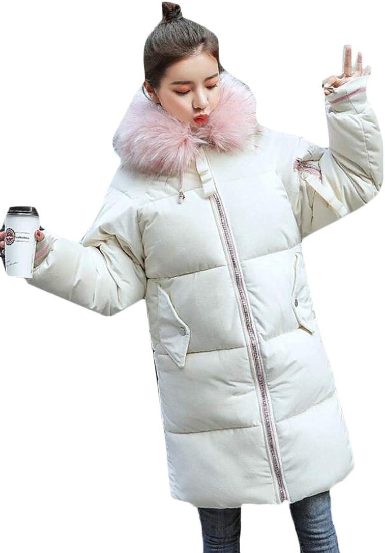 Jxfd Women Winter Warm Down Faux Fur Lined Jacket Parka Hoodie Outdoor Coat