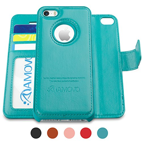 AMOVO Case for iPhone SE [2 in 1], iPhone SE Wallet Case [Detachable Wallet Folio] [Premium Vegan Leather] iPhone SE 5 5S Leather Case with Wrist Strap Gift Box Package (Aqua)