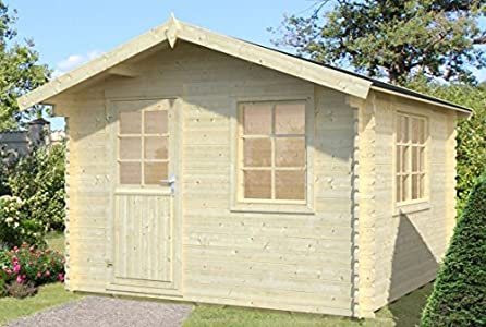 Ulmus U28 - Caseta de jardín con suelo y listones de 34 mm, superficie de 9 m², tejado