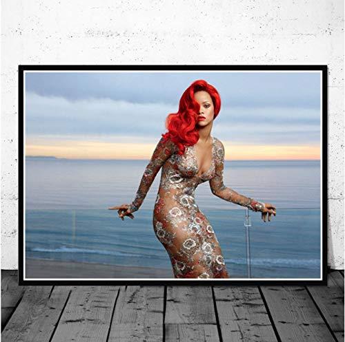 QIUFANGGUO Hot Rihanna Popstar Musik Sänger Superstar Hip Hop USA Kunst Malerei Poster und Drucke Wandbilder für Wohnzimmer Home Decor 50 * 70Cm ohne Rahmen