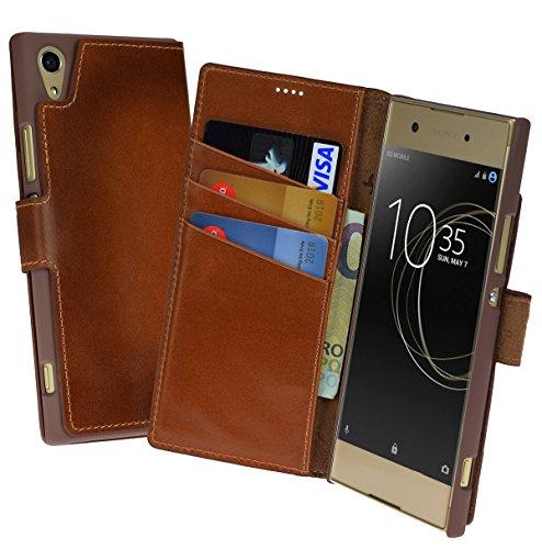Suncase Book-Style (Slim-Fit) für Sony Xperia XA1 Ultra Ledertasche Leder Tasche Handytasche Schutzhülle Hülle Hülle (mit Standfunktion & Kartenfach) Burned - Cognac