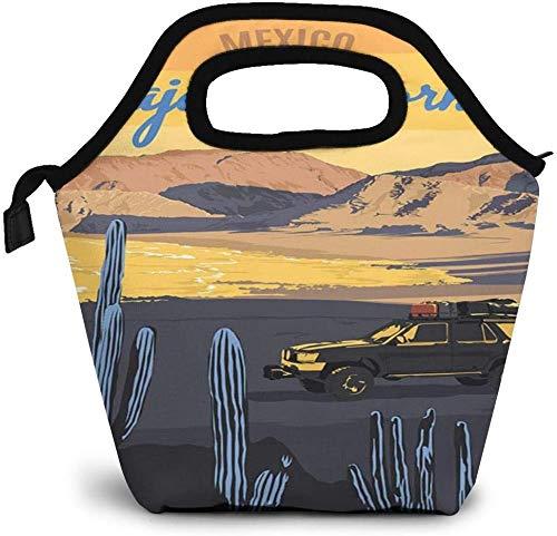 Travel Style Baja California Mexico Vintage Poster Insulated Lunch Bag Custom Bento Box Picnic Cooler Portable Handbag Lunch Tote Bag for Women Girl Men Boy