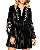 Aofur Women Bohemian Vintage Embroidered Velvet Spring Shift Mini Dress Long Sleeve Casual Tops Blouse (XXXX-Large, Black)