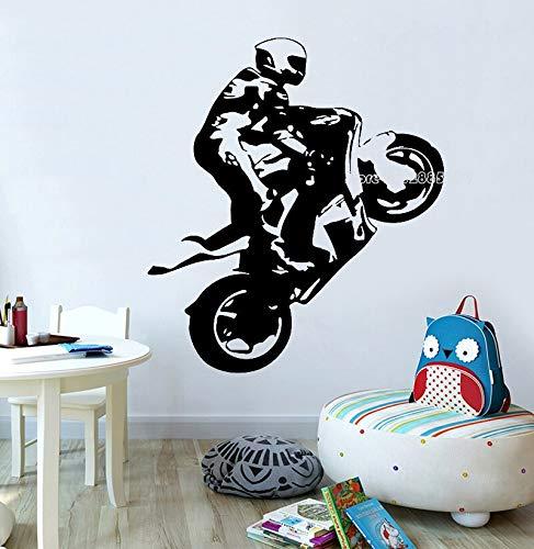 jtxqe Motorradfahrer Motorradhelm Teenagerzimmer Wandaufkleber Selbstklebende Tapete Für Die Wanddekoration 42Cm X 47Cm