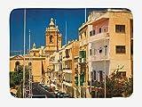 ABAKUHAUS Ciudad Vieja Casas Tapete para Baño, Casas de Malta Birgu, Decorativo de Felpa Estampada con Dorso Antideslizante, 45 cm x 75 cm, Multicolor
