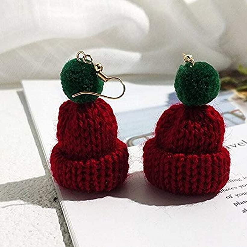 確保する覗く卒業LOOL 1 ペア秋冬素敵なセータークリスマス帽子イヤリング気質ロングふわふわ女性 (Red)