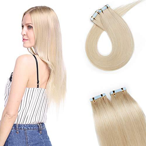 20PCS Extension Adhésive Naturel 100% Vrai Cheveux [12 Pouces, 3G/PCS] Bande Adhesive Extension Rajout Cheveux Tape In Hair Extension #70 Blond Blanc