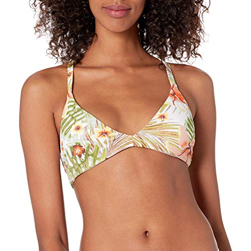 Roxy Junior's Printd Beach Classics Fixed Tri Bikini Top, Bright White HERBIER S, M