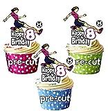 Decoraciones comestibles para cupcakes y tartas (12 unidades), diseño de futbolista femenino