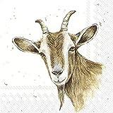 IHR - Tovaglioli di carta stampati a 3 strati, confezione da 20, dimensioni 33 x 33 cm, motivo: Farm Friends Goat