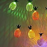 Cadena de luz de piña, 3,5 m 20 LED para interiores de metal piña cadena de luces de hadas con 8 modos para jardín al aire libre (multicolor)