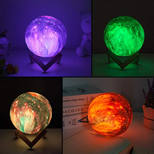 BRIGHTWORLD Moon Lamp Kids Night Light Galaxy Lamp 5.9 inch 16 Colors LED 3D Star Moon Light with Wood Stand, Remote & Touch Control USB Rechargeable Gift for Baby Girls Boys Birthday 5