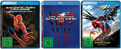 Spider-Man 1-3 + The Amazing Spider-Man Teil 1+2 + Spider-Man Homecoming [Blu-ray Set] Alle 6 Teile Spider Man Komplett Fan Paket