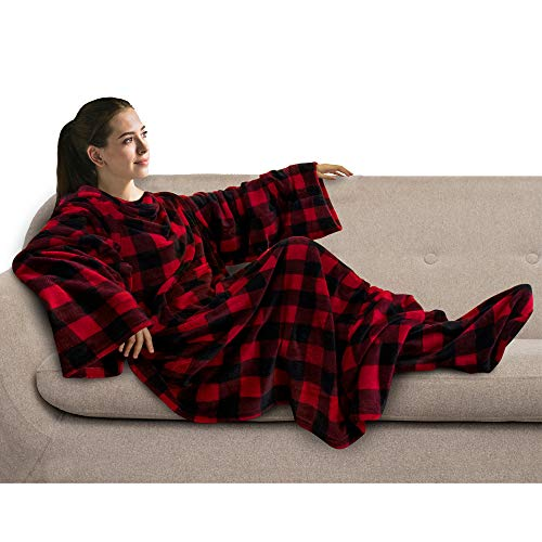 PAVILIA Fleece Blanket with Sleeves and Foot Pockets for Adult Women, Men   Wearable Fleece Throw Wrap, Warm, Cozy, Extra Soft for Sofa Couch Lounging Gaming (Checkered Red)