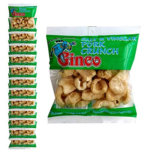 Ginco Salt and vinegar pork crunch, 12 x 25g Packs of Deliciously Seasoned Crispy Pork Puffs, High Protein Low Carb pub snacks, keto friendly snacks