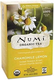 Numi Organic Tea Fair Trade Chamomile Lemon, Herbal Teasan, 18-Count Tea Bags
