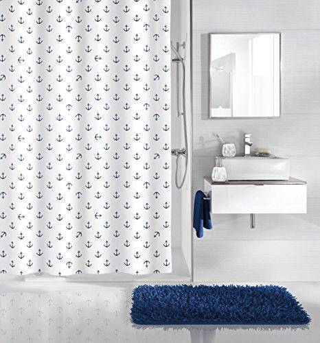 Kleine Wolke x Duschvorhang, Synthetische Fasern, Blau, 200x180 cm