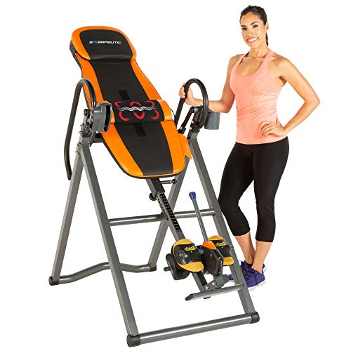 Exerpeutic 375SL UL Certified Heat and Massage Therapy Inversion Table with Airsoft No Pinch Ankle Holders and 'Surelock' Locking System