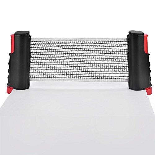 Dilwe Red de Tenis de Mesa Retractil Red Portatil y Ajustable de Ping Pong Accesorio de Tenis Actividades Al Aire Libre(Black&Red)