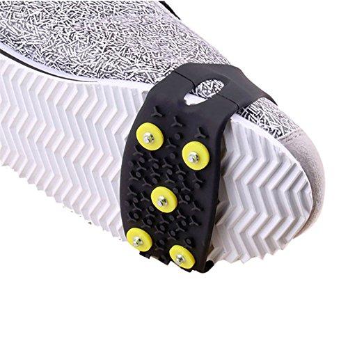 ZAMAC Cubierta para zapatos al aire libre antideslizante, crampones simples de la ciudad, crampones para nieve, hielo, nieve, nieve, antideslizante, 5 dientes