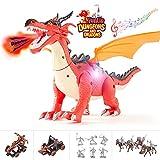 FUNLIO 5 en 1 Dragon Jouets pour Enfants, Assemblé Mist Spray Dragon Jouets avec Lumière, Marche avec Bruit Rugissant, Grande Taille Aspect Réaliste, Jouets Éducatifs