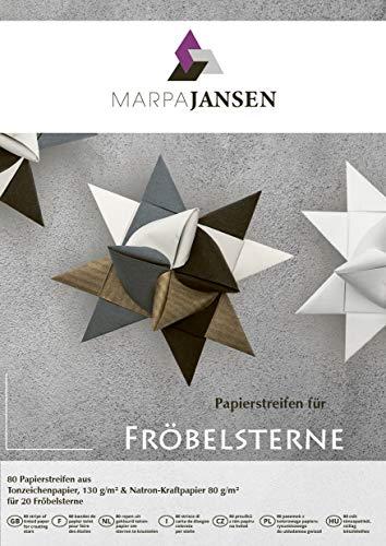 Papierstreifen für Fröbelsterne - (1,5 x 45 cm, 80 Streifen, 130 g/m²) - Tonzeichenpapier - sortiert - schwarz, weiß, altgrau, braun gerippt