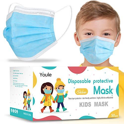 50 Pezzi Taglia Bambini Prodotti Contro Appannamento e Sporco in Meltblown Tessuto Non Tessuto, nasello regolabile, Consegna entro 48 ore (Blu, 50)