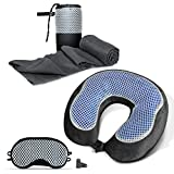 Cloudz Cool Gel & Bamboo Memory Foam Travel Set - Includes Travel Neck Pillow, Travel Blanket & Sleep Mask - Black