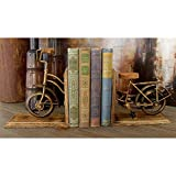 Metal and Wood Bicycle Bookend Gold Traditional MDF