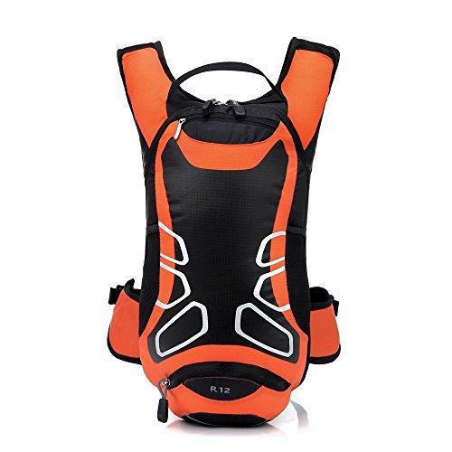 Seau souple imperméable pour vélo Sac à dos à bandoulière Ultralight Sport Extérieur Camping Voyage d'équitation Alpinisme d'hydratation Eau Sac Orange Orange 12L