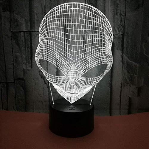 3D Luz De Noche Led LED Lámpara de Escritorio Alien de ojos grandes decoración de dormitorio regalo lámpara de noche creativa regalo Con interfaz USB, cambio de color colorido