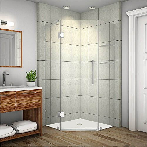 Aston Neoscape Completely Frameless Neo-Angle Shower Enclosure with Glass Shelves
