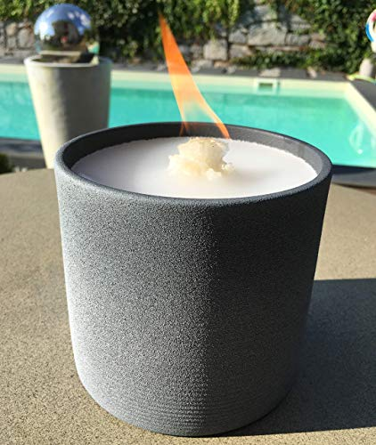 Schmelzlicht grau Outdoor Wachs Kerze Reste Tischfeuer Terrassenfeuer Geschenk