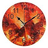 SENNSEE - Reloj de Pared Abstracto con Llama de Fuego para Sala de Estar, Dormitorio, Cocina, Funciona con Pilas, Reloj Redondo para decoración del hogar
