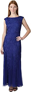 ONYX Nite Women's Sleeveless Embroidered Tulle Gown with Mesh Godet