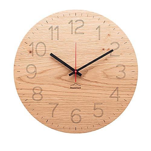 huamet. Holz Wanduhr Eiche Astig mit arabischen Zahlen/Ziffern DUHRCHBLICK, rund, geräuschlos ohne Ticken - Qualitätsprodukt Made in Südtirol - CH80-A-1501