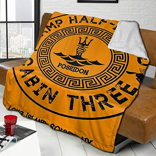 zblin Percy Jackson Camp Half Blood Cabin Three Poseidon Boutique Blankets Soft Comfortable Plush Microfiber Flannel Blanket 72x80inch